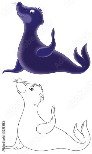 Türaufkleber Zum Malen friendly smiling seal