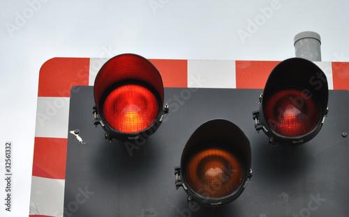 Valokuva  Railway level crossing signal warning lights
