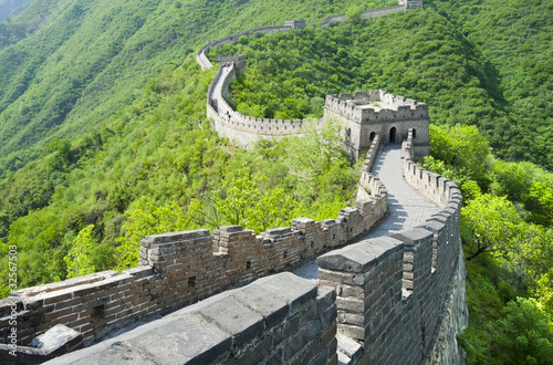 Montage in der Fensternische Chinesische Mauer The Great Wall of China