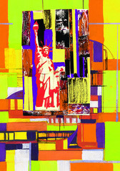 FototapetaAbstract composition with Statue of Liberty