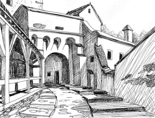 Photo  Medieval citadel sketch