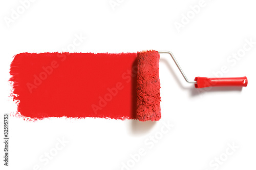 Fotomural red paint roller