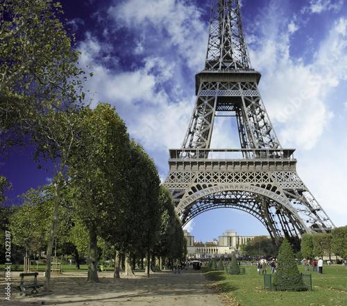 Eiffel Tower from Parc du Champs de Mars Wallpaper Mural