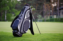 Golf Sticks Bag On Golf Course