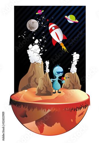 Foto op Canvas Kosmos alien en marte en vector