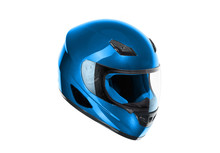 Blue, Shiny Motorcycle Helmet Isolated On White Background