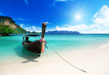 Fototapeta See - long boat and poda island in Thailand
