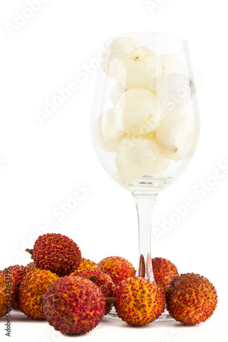 Litchi in wine glass