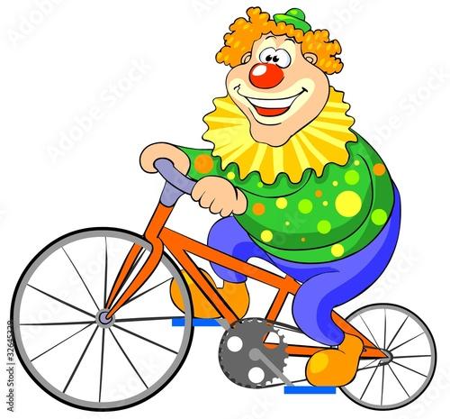 Fényképezés  Happy clown riding on a bike. Vector illustration
