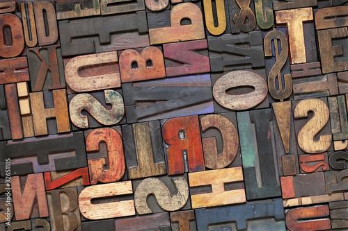 Fotografie, Obraz  letterpress wood type with ink patina