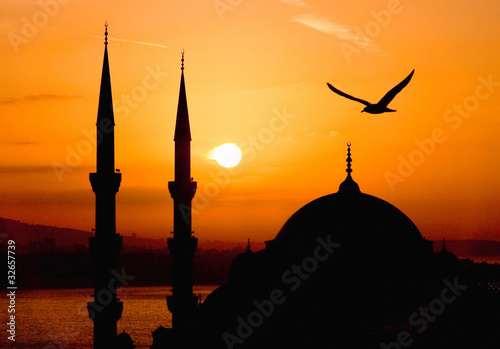View of Sultanahmet by night, Istanbul Poster