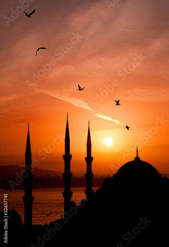 Fotografia View of mosque during sunset at Istanbul