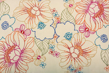 Colorful Floral Design Embroidery On Fabric, Textile , Jaipur, Rajasthan, India