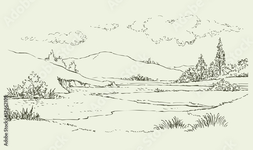 Poster Blanc Summer landscape with a river