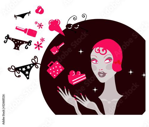 Fototapeta Shopping Woman Making Decision What To Buy /Pretty woman  dreami obraz na płótnie