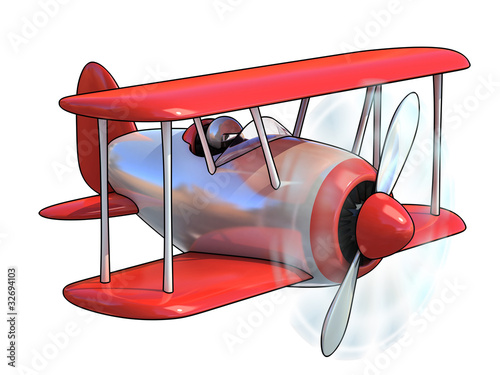 cartoon like airplane 3d illustration isolated on white