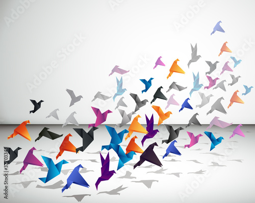 Tuinposter Geometrische dieren Indoor flight, Origami Birds start to fly in closed space.