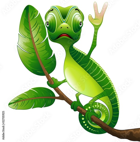 Poster Draw Camaleonte Buffo Cartoon Saluta-Funny Chameleon-Vector