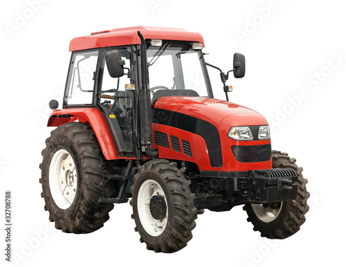 Fotografering  New red tractor isolated over white background