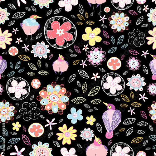 Poster Oiseaux, Abeilles floral pattern with birds