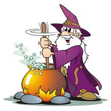 Purple Wizard With Cauldron