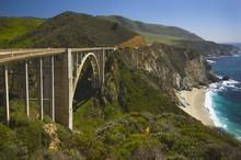 Bridge  Along  Pacific Ocean Near Big Sur; California, USA