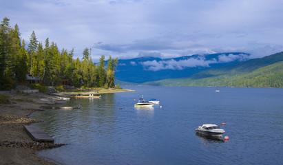Fototapeta na wymiar Lake Front Property at Shuswap Lake