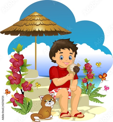 In de dag Regenboog Child eating ice cream
