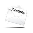 Icono sobre blanco con carta con texto Resume