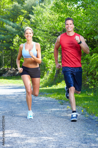 Tuinposter Jogging Jogging couple.