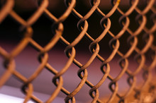 Chain Fence At Night