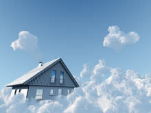 Rural House Flyuing On Clouds On Blue Sky Background