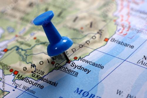 Pushpin on the map - Sydney