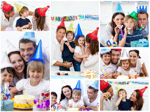 Collage of families celebrating a birthday together at home #32789991