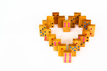 Heart Wooden Dominos Isolated