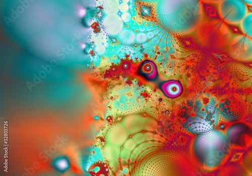 Deurstickers Fractal waves Fractal-27