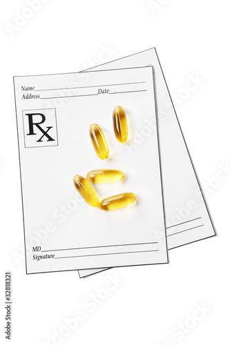 Fotografia  RX prescription and vitamin pills