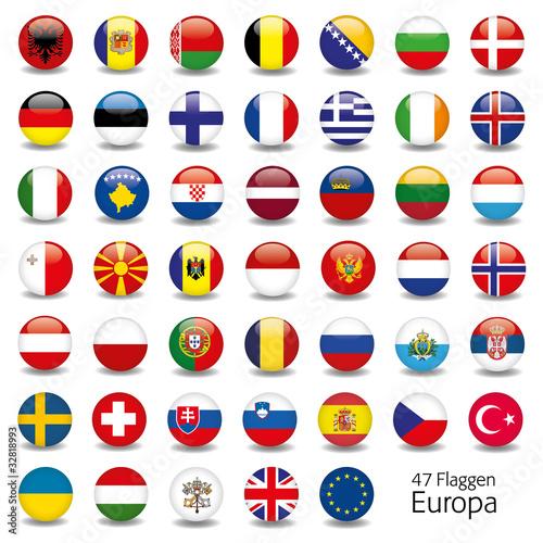 Europa Flaggen Fahnen Set Buttons Icons Sprachen 5 Fototapete
