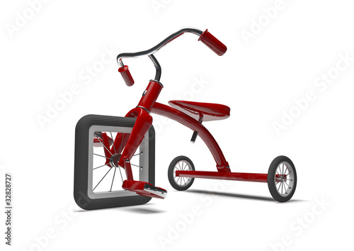 Fotografia, Obraz  Red tricycle with slight design flaw