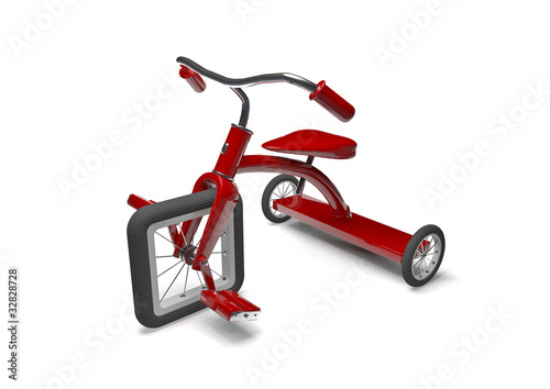 Red tricycle with slight design flaw Wallpaper Mural