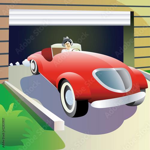 Foto op Canvas Cars Man drives retro car. Vector illustration.
