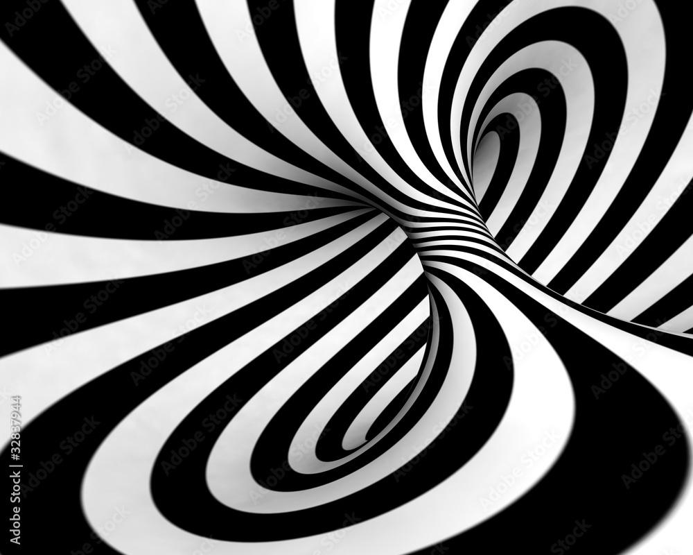 Fototapety, obrazy: Abstrakcyjna wirówka czarno biała 3D