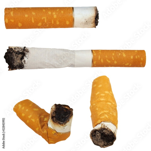 Photo  Set Cigarette butts isolated on white background