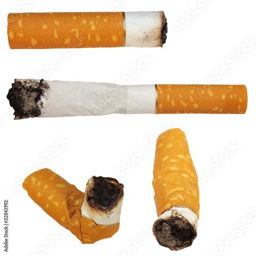 Fotografie, Obraz  Set Cigarette butts isolated on white background