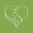 Logo - heart shaped plant (white naturally looking outline)