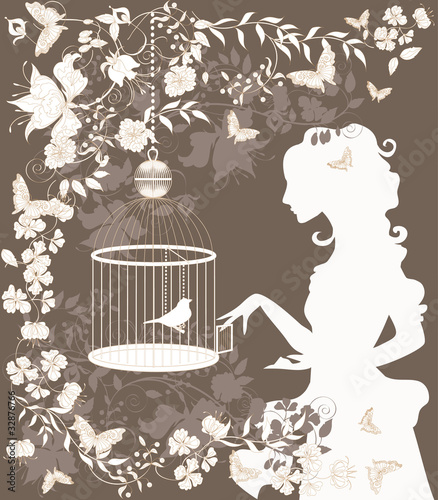 Poster Birds in cages Vintage background with flowers, bird and girl silhouette