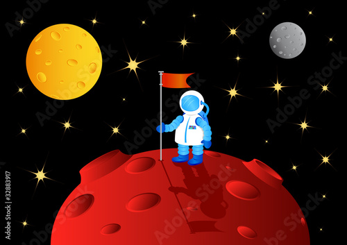 Foto op Canvas Kosmos astronaut with flag on another planet