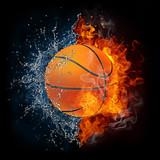 Piłka do koszykówki w ogniu i wodzie