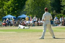 Cricketer Watching As His Team...