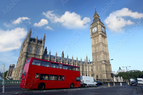 Foto op Canvas Londen Big Ben with double decker, London, Uk